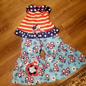 NWT Jelly the Pug Toddler Girls 4th of July set